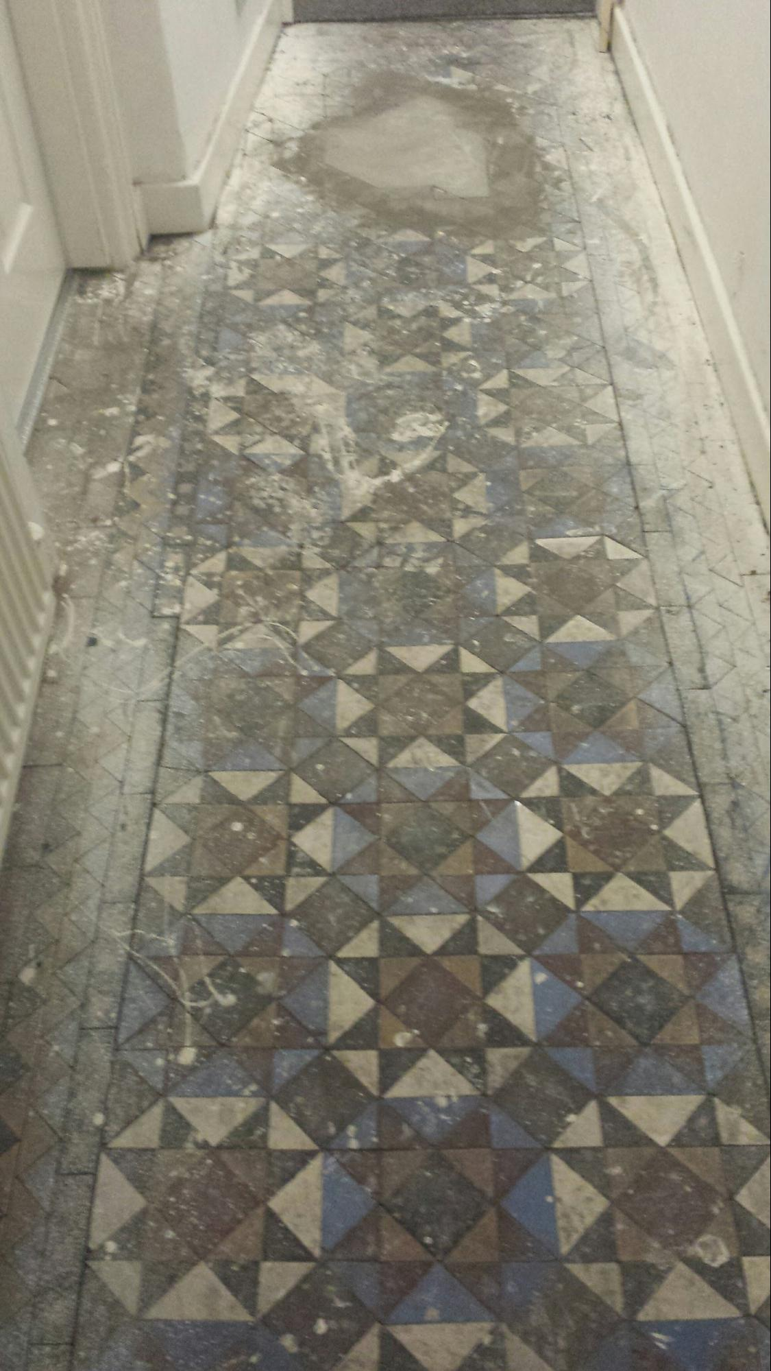 Victorian Tiles Before Restorative Cleaning Stockton Heath