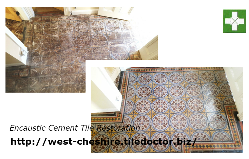 Encaustic cement tile restoration Chester before and after