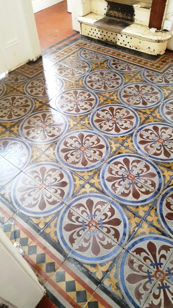 Encaustic tiled hallway after restoration in Chester