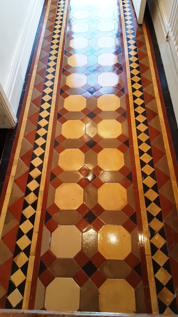 Victorian tiled hallway after restoration Warrington