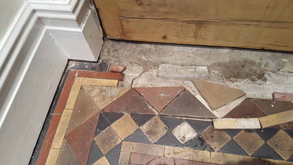 Victorian tiled hallway before restoration Warrington