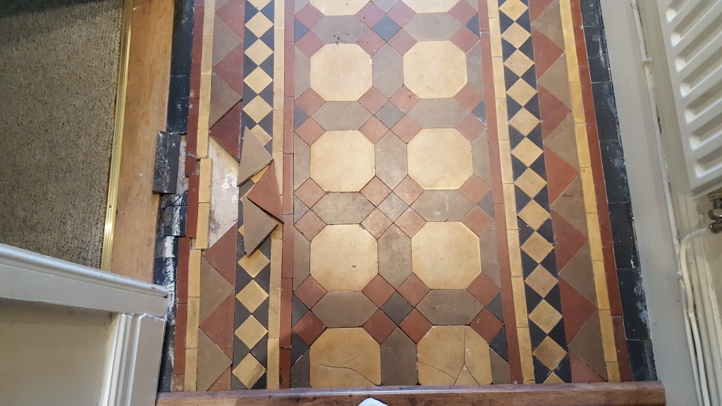 Victorian tiled hallway during restoration Warrington