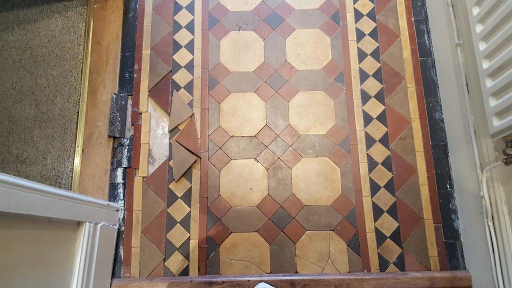 Victorian tiled hallway during restoration Warrington