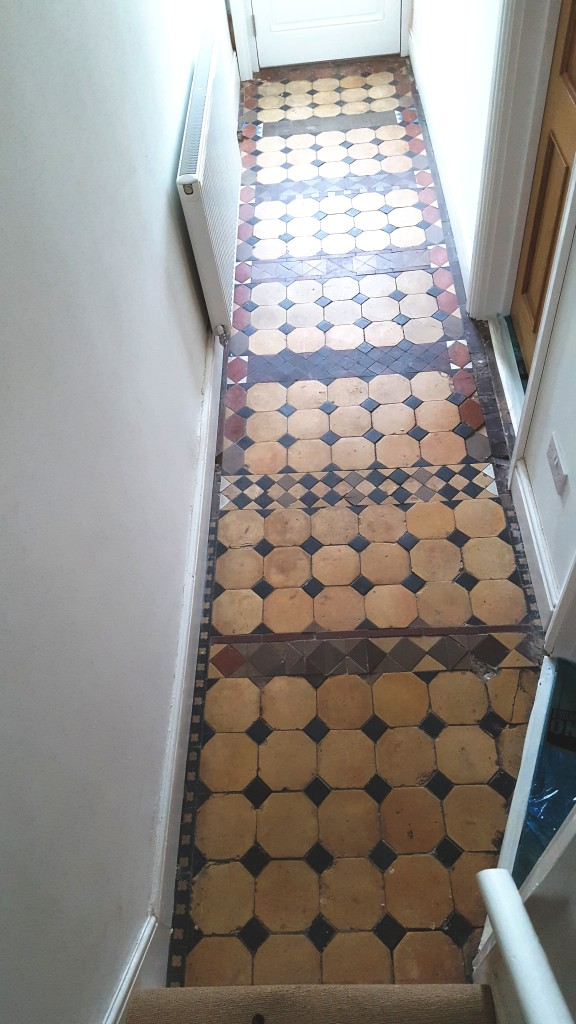Victorian Tiled Hallway Before Cleaning in Grappenhall