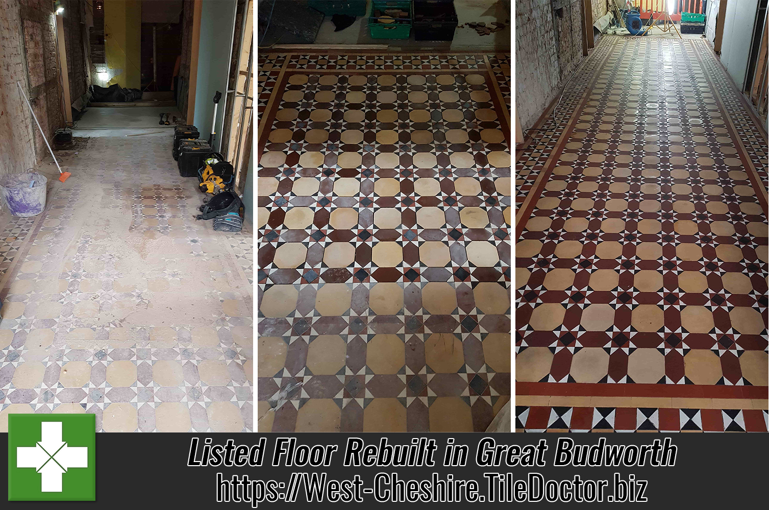 Listed Victorian Tiled Floor Before and After Restoration Great Budworth