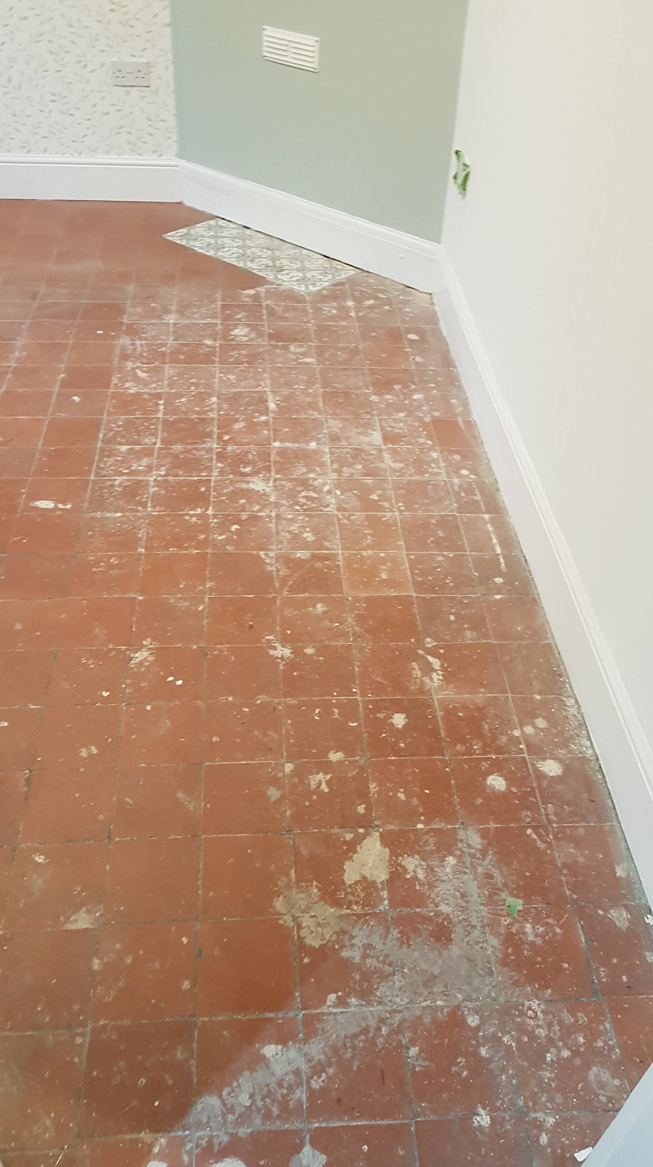 Quarry Tiled Floor Before Renovation Northwich