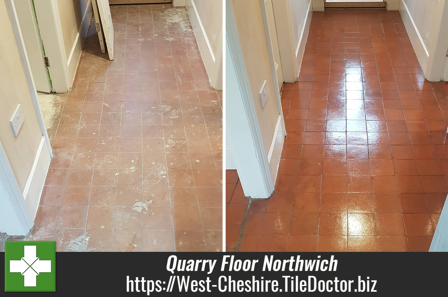 Original Quarry Tiled Floor Renovation at Lock Keepers Cottage in Northwich
