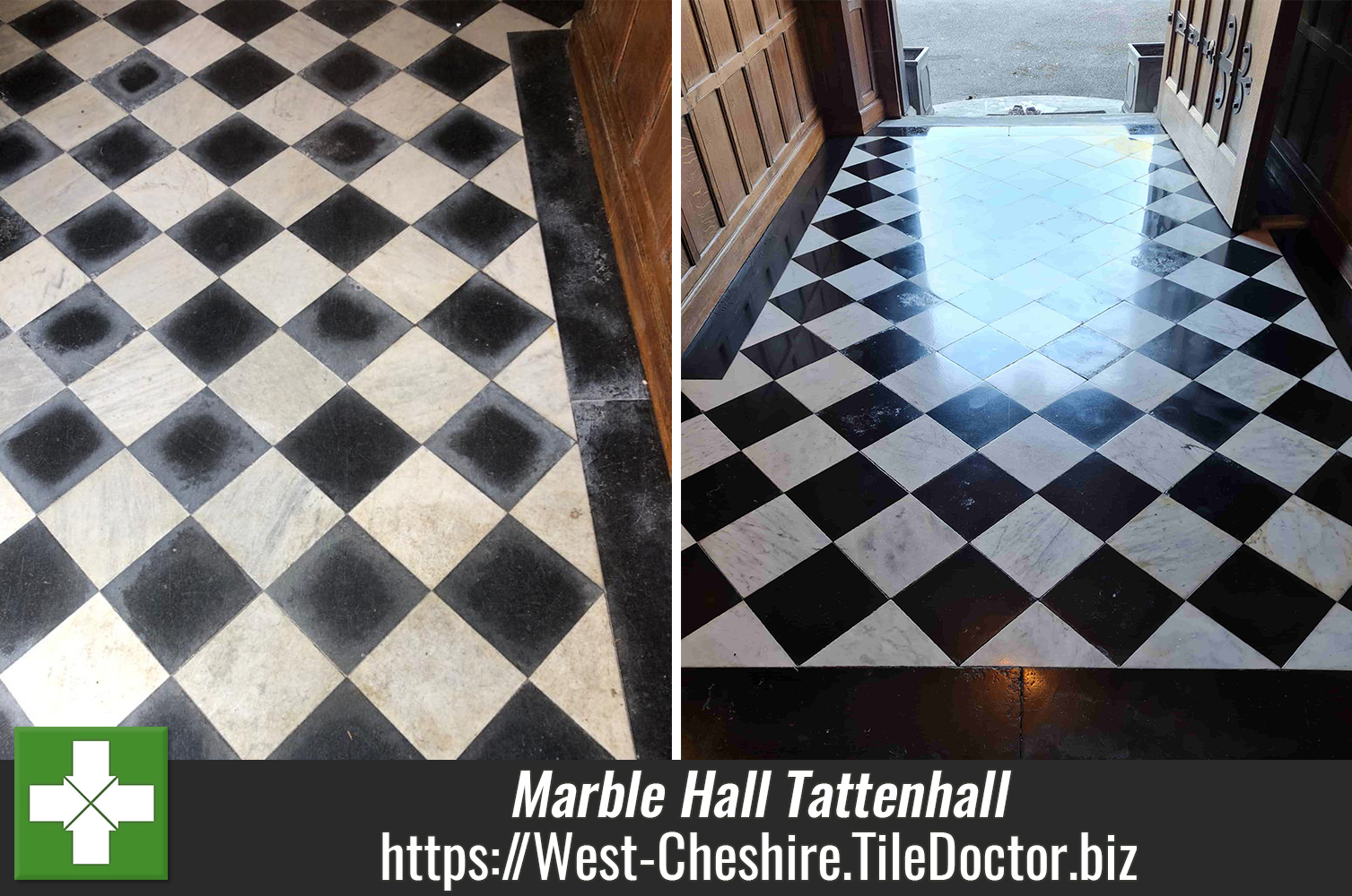 Marble Entrance Hall Floor Polished in Tattenhall Listed Building