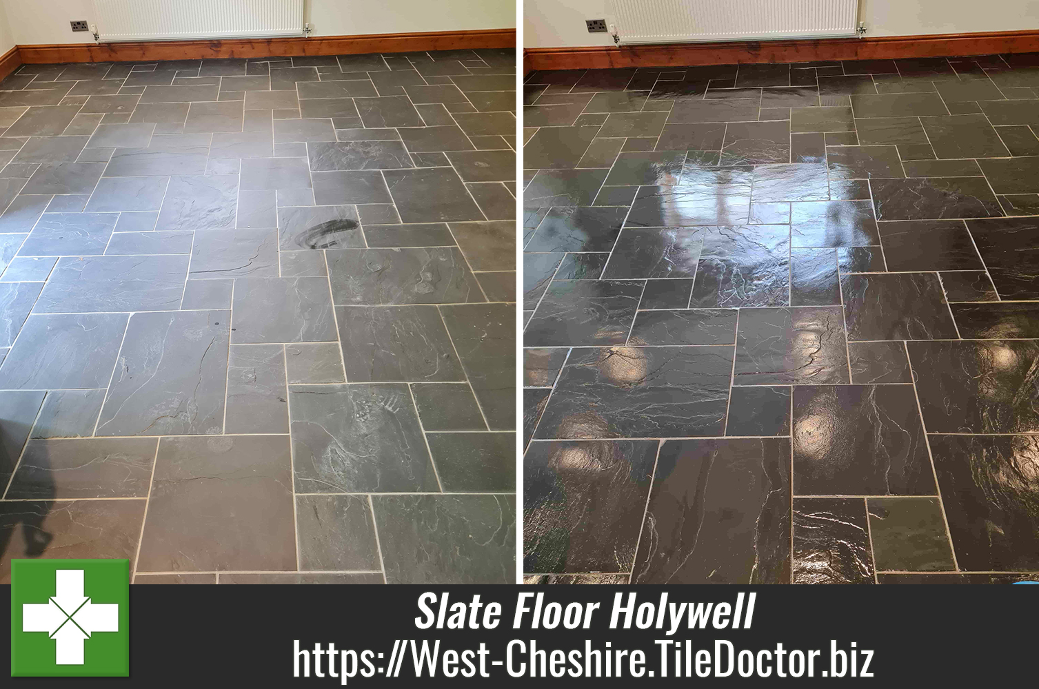 Welsh Slate Kitchen Floor Renovated in Holywell